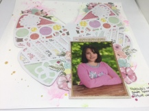 My daughter's 4th grade school picture. More Paige Evans paper. (I LOVE her!!) and a cut file from Hip Kit Club